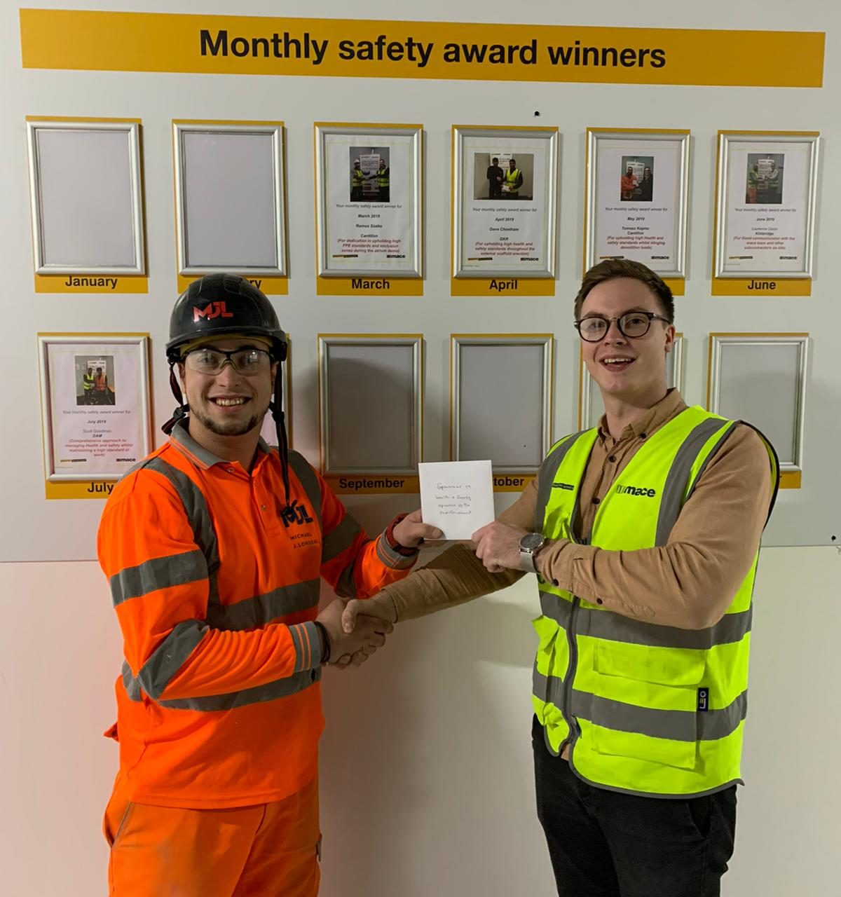 Michael J Lonsdale receives Mace monthly safety award